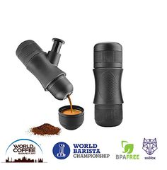 SnöFox Portable Mini Espresso Maker | Hand Held Caffe Espresso Machine On The Go | No Batteries or Eletronic Power Needed | For Home,Camping,Travel,Office,or Outdoor | BPA Free | Manual Pressure |