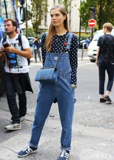 let's see that again. Caro & her overalls #offduty in Paris. #CarolineBraschNielsen