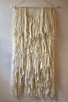 Woven Wall Hanging: Tapestry Weaving in White Fringe with Vintage Thread, Yarn, Alpaca Locks, Wool, Hair and Mull