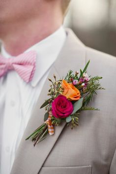 Love with Bright Juicy Pops of Color Love the contrast of the bright orange & fuschia Groom's boutonniere against the khaki suit.Love the contrast of the bright orange & fuschia Groom's boutonniere against the khaki suit. Corsage And Boutonniere, Groom Boutonniere, Boutonnieres, Orange Boutonniere, Wedding Events, Our Wedding, Dream Wedding, Wedding Beauty, Wedding Makeup