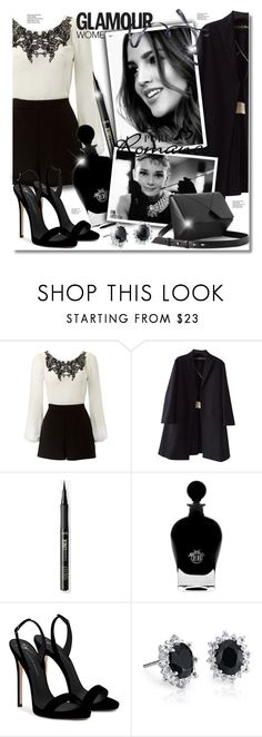 """Playsuit"" by elona-makavelli ❤ liked on Polyvore featuring Lipsy, Rochas, Goody, EB Florals, Giuseppe Zanotti, Blue Nile and Amica"