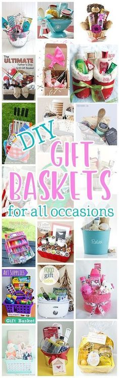 Do it Yourself Gift Baskets Ideas for Any and All Occasions - Perfect DIY Gift Baskets for Christmas - Birthdays - Thank You Gifts - Housewarmings - Baby Showers or anytime! for girlfriend basket Do it Yourself Gift Basket Ideas for Any and All Occasions Themed Gift Baskets, Diy Gift Baskets, Christmas Gift Baskets, Diy Christmas Gifts, Basket Gift, Raffle Baskets, Christmas Ideas, Santa Gifts, Handmade Christmas