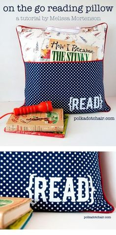 "Sewing Pattern & tutorial for an ""On the Go Reading Pillow"" a cute DIY idea for pocket pillow for kids. Makes a great gift!"