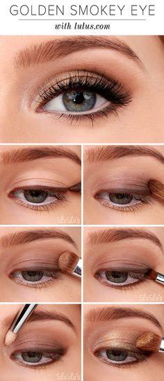 Golden Smokey Eye Make-up Tutorial! :-) Golden Smokey Eye Make-up Tutorial! Makeup Tricks, Eye Makeup Tips, Makeup Products, Beauty Makeup, Makeup Ideas, Beauty Tips, Makeup Eyeshadow, Makeup Inspo, Makeup Brushes