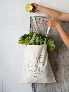 Fun cotton canvas tote bag. Handmade market bag. LIVE LOVE EAT. Food lover beach bag. Everyday handbag. Fun gift idea. Etsy