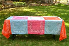Bandana Quilt Tablecloth (Tutorial)--nice blog for sewing, crochet, and knitting projects.