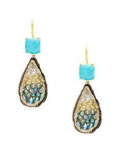Cushion & Pear Drop Earrings