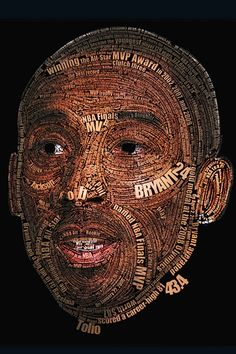 Artist Tolio created this awesome Kobe Bryant typography piece that's similar to the Michael Jordan one created by Ziarekenya Smith. With an image of Kobe, a gigantic list of his accomplishme… Caricatures, Dodgers, Kobe Bryant Pictures, Kobe Bryant Black Mamba, Air Max Day, Kobe Shoes, Basketball Art, Photoshop, Air Max Thea
