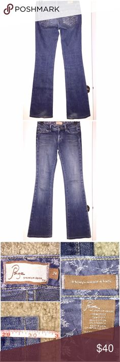 """👖JEANS SALE👖Paige Jeans Paige Jeans in size 24 with a 30"""" inseam come in preloved and VERY GOOD condition! Style name: Hollywood Hills. Classic rise and boot cut! Pretty designs on back pockets. These fit like glove! There is some slight wear to the hems (I'm too short hahaha). My fave pair of go-to jeans!!! My prices fluctuate from time to time. Catch items when the prices are low!❤️ Paige Jeans Jeans Boot Cut"""