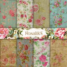 Vintage Floral Fabric Floral Shabby Chic 12x12 Digital by rosaliks