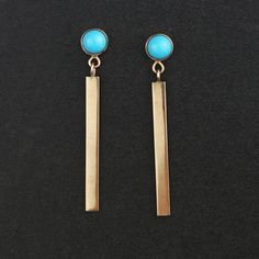 Handmade Solid 14k Gold Stud And Bar Dangle Earrings