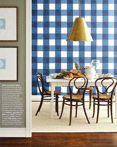 Gingham wall - sala de jantar - papel de parede