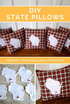 """State Specific """"home is where the heart is"""" pillow slipcovers! FREE pattern and tutorial included. Customized pillow available for purchase $34.99."""