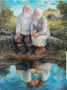old couple painting by the water reflecting Couple Painting, Couple Art, Art And Illustration, Jessie Willcox Smith, Cool Pictures, Beautiful Pictures, Growing Old Together, Old Couples, Old Love