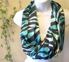 Chevron Print Lightweight Teal Aqua Blue Turquoise Infinity Scarf B47