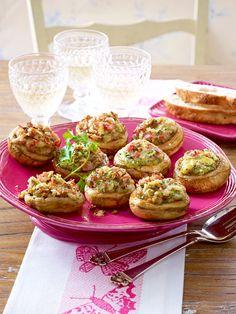 Champignons mit Schinken-Käse-Füllung