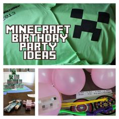 Minecraft Party Ideas: Printables, Crafts, Games, T- Stickers, Cake Ideas and More! Includes free printables for minecraft iron on t-shirts. Also free printables for sticker activity…Mehr Minecraft Torte, Minecraft Party Games, Minecraft Birthday Party, Birthday Party Games, Diy Birthday, Minecraft Iron, Minecraft Music, Minecraft Crafts, Minecraft Skins
