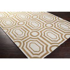 white & gold rug, hand tufted, plush pile