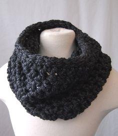 Grey cowl chunky crochet neck warmer handmade by GloriousMorn, $30.00- cozy