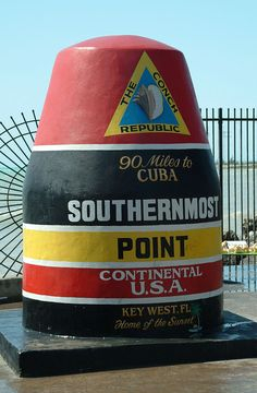 The southernmost point in the continental United States at Key West Florida.