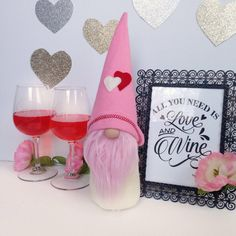 New Valentine's gnomes just arrived in Flower Valley! #etsy #housewares #homedecor #pink #anniversary #white #valentinesday