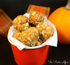 Fall favorite flavors of pumpkin spice are packed in these No-bake Pumpkin Protein Bites! These tasty snacks are great for pre or post workout fuel.