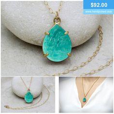 Elegant necklace with Amazonite gemstone. #gemstone #handmade #amazonite #jewellery #gold #necklace #pendant #anemonejewelry #handpickedclub @handpicked2842