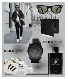 """""""black men ---"""" by belma01 ❤ liked on Polyvore featuring Diesel, adidas Originals, Giorgio Armani, Ray-Ban, Perry Ellis, men's fashion and menswear"""