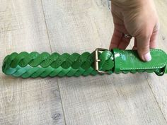 36.00$  Buy now - http://vilci.justgood.pw/vig/item.php?t=2ku2bn0206 - Boden Women's Kelly Green Twisted Patent Leather Belt Sz S New 36.00$
