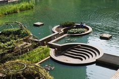 Water and architecture - an ongoing and reemerging pattern.   Barbican centre, London / repinned on toby designs