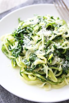5-Ingredient Spinach Parmesan Zucchini Noodles Recipe on twopeasandtheirpod.com You only need 5 ingredients and 20 minutes to make this easy and healthy dish! It is a favorite at our house!