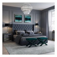Grey Panelled Walls With Button Headboard And A Touch Of Olive Green Makes This Room So Sophisticated