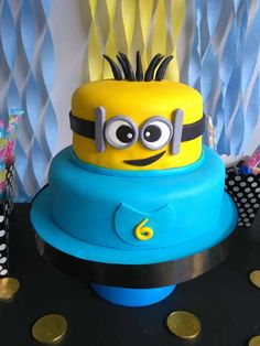 Fun Minion cake at a Despicable Me birthday party! See more party ideas at CatchMyParty.com!