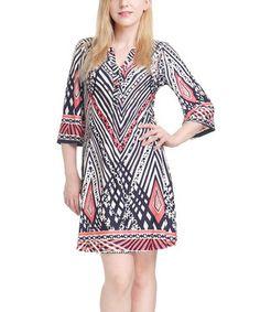 Look what I found on #zulily! Navy & Pink Geo Shift Dress by Reborn Collection #zulilyfinds