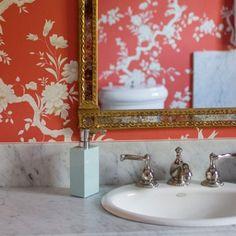 Chinoiserie Chic: One Room Challenge - Powder Room Inspiration Bathroom Inspiration, Design Inspiration, Bathroom Ideas, Design Ideas, Coral Wallpaper, Chinoiserie Chic, Pretty Wallpapers, Wall Treatments, Beautiful Bathrooms