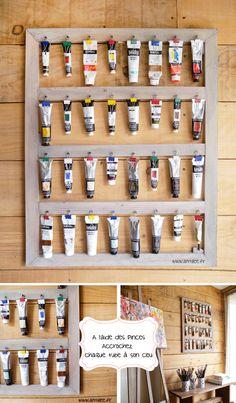 Idée rangement tubes de peinture sur châssis. recyclage, récupération http://www.amylee.fr/2015/03/presentoir-tubes-peinture/