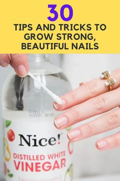 Everyone yearns for beautiful, strong, and healthy natural nails. But for some people, it's a hard goal to accomplish. Luckily, we've talked to the pros, and they've shared some tips and tricks that can help everyone. Here are 30 simple tips and tricks to help you grow strong, beautiful, and healthy natural nails. Hard Nails, Nail Plate, Strong Nails, Distilled White Vinegar, Viral Trend, Nails At Home, Healthy Nails, Nail Pro, Gorgeous Nails