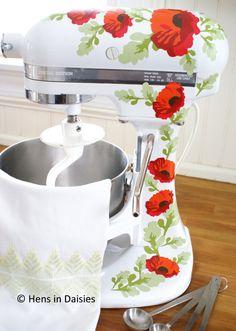 Poppies Kitchenaid Decals Red
