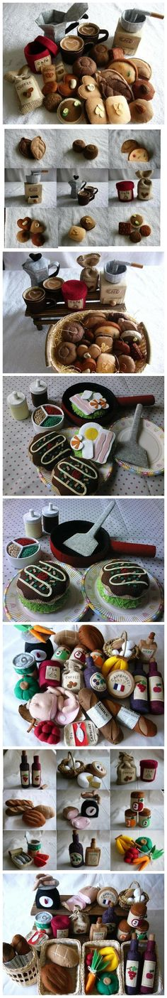Inspiration - felt food (coffee set, wine bottles, etc.)
