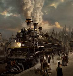 Wow, three smoke stacks.  Beautiful artists rendition of this steam engine train of the late 1800's.
