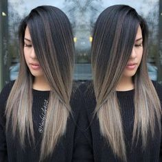 Image result for warm brunette hair with ash balayage highlights