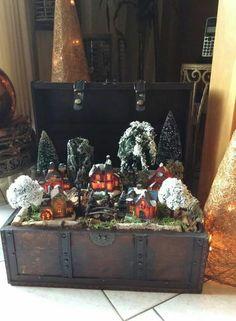 Kerstdorpje in koffer