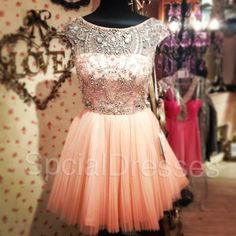 Formal Dress? Fantastic Beaded Ball Gown Round Neckline Mini Tulle Homecoming Dress/ Prom Dress