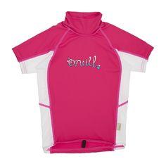 O'Neill Girl's Skins Short Sleeve Turtleneck Rash Vest - Watermelon/Pink