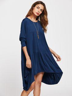 3fe46cb49ac4 Asymmetrical Hem Swing Dress -SheIn(Sheinside) Vestido De Balanço, Casual,  Estilos