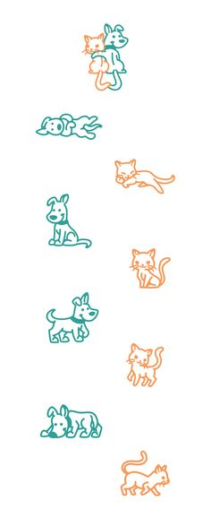 Dog&Cat #dog #cat #dogs #cats #puppy #cute #logo #illustration #icon #positions #poses #creative #vector #kreatank #designer