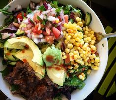 "@highcarbhannah ""Burrito salad with beans, corn, avo, cilantro, lime and salsa"