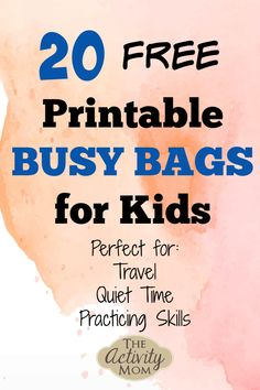 20 Free Printable Busy Bags FREE, Printable Busy Bags for Kids for Traveling, Quiet Time, and for Practicing Skills<br> Here are 20 free printable busy bags full of fun kid's activities! Perfect for traveling and quiet time. Quiet Time Activities, Printable Activities For Kids, Indoor Activities For Kids, Kids Learning Activities, Preschool Activities, Free Printables, Kindergarten Learning, Motor Activities, Summer Activities