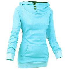 Womens Plain High Collar Button Kangaroo Pocket Pullover Hoodie Blue (22 CAD) ❤ liked on Polyvore featuring tops, hoodies, blue, blue hooded sweatshirt, high collar hoodie, button hoodie, blue top and blue hoodies