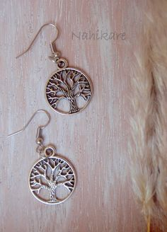 "Silver earrings ""Tree of life"" /Pendientes tree of life - hippy-sterling silver…"